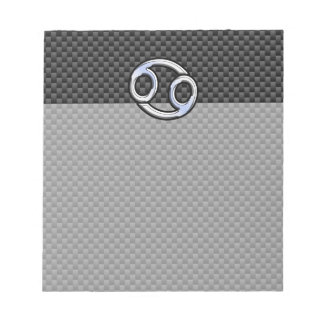 Cancer Zodiac Symbol Black Carbon Fiber Print Notepad