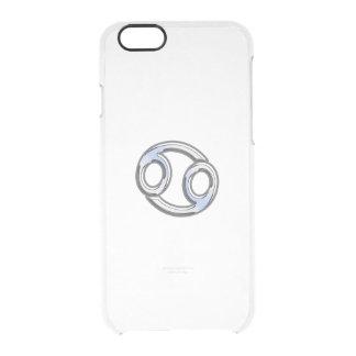 Cancer Zodiac Symbol Navy Blue Carbon Fiber Print Clear iPhone 6/6S Case
