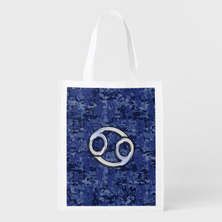 Cancer Zodiac Symbol Navy Blue Digital Camouflage Grocery Bag