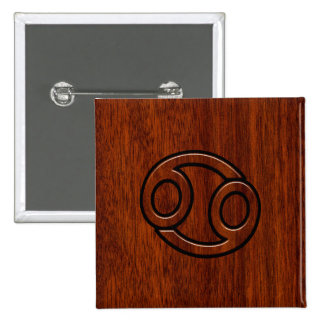 Cancer Zodiac Symbol on Mahogany Style Decor Pinback Button