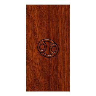 Cancer Zodiac Symbol on Mahogany Wood Style Card