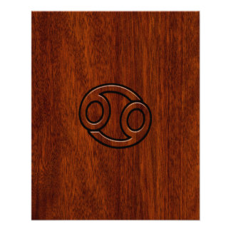 Cancer Zodiac Symbol on Mahogany Wood Style Flyer