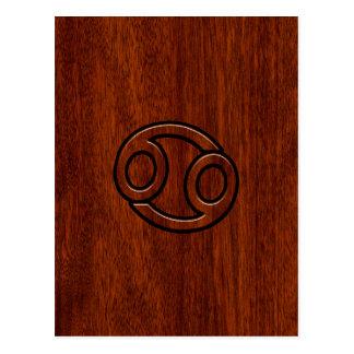 Cancer Zodiac Symbol on Mahogany Wood Style Postcard