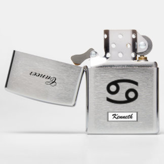 Cancer Zodiac Symbol Standard by Kenneth Yoncich Zippo Lighter