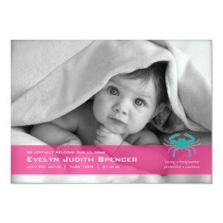 Cancerian the Crab Photo Birth Announcement Card