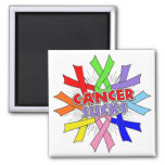 Cancers Sucks Awareness Ribbons 2 Inch Square Magnet