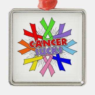 Cancers Sucks Awareness Ribbons Square Metal Christmas Ornament