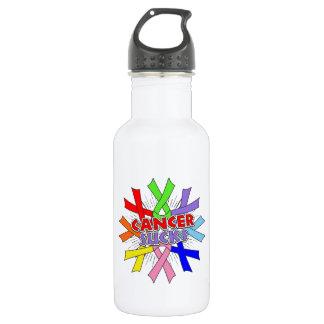 Cancers Sucks Awareness Ribbons 18oz Water Bottle