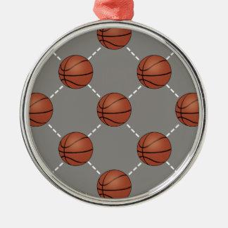 Cancha de básquet adorno navideño redondo de metal