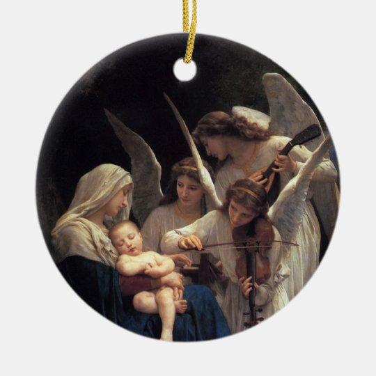 Canción de ángeles, Bouguereau Adorno Navideño Redondo De Cerámica