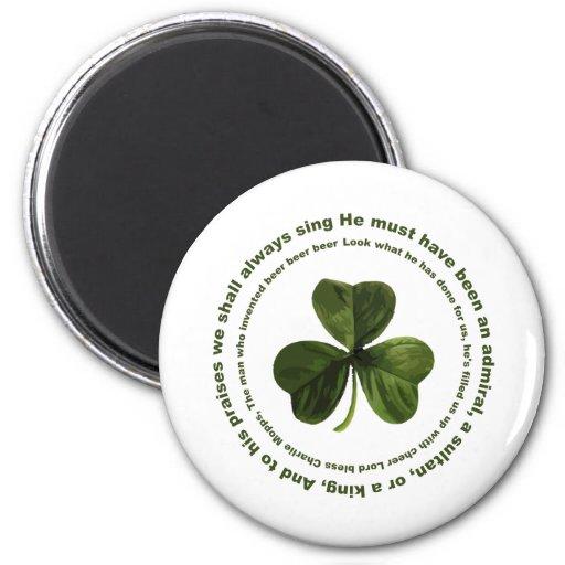 Canción de consumición irlandesa imán redondo 5 cm