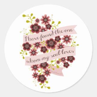 Canción de floral romántico de la cita del amor de pegatina redonda