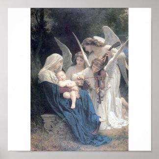 Canción de la bella arte de Bouguereau de los ánge Póster