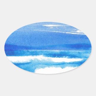 Canción de la costa - olas oceánicas de CricketDia Calcomanías De Ovales Personalizadas