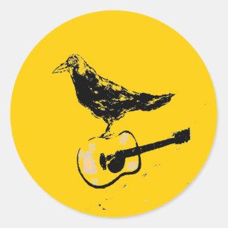 canción de la guitarra del cuervo pegatina redonda