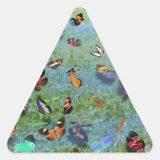 Canción de la mariposa de la leyenda cherokee pegatina triangular