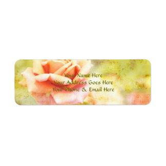 Canción de la primavera II - color de rosa anaranj Etiquetas De Remite