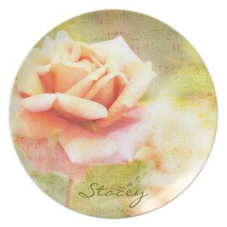 Canción de la primavera II - color de rosa anaranj Plato Para Fiesta