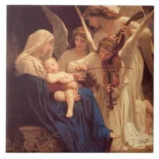 Canción de los ángeles por Bouguereau Azulejo Cuadrado Grande