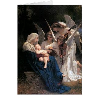 Canción de los ángeles por Bouguereau, navidad Tarjeta De Felicitación