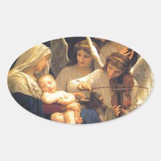 Canción de los ángeles William-Adolphe Bouguereau Calcomanías Ovales