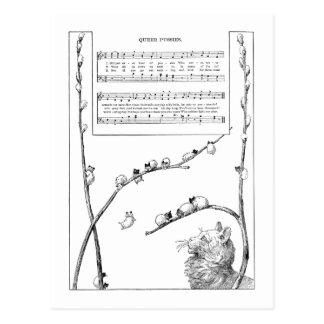 Canción de los gatitos del sauce de gatito tarjeta postal