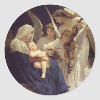 Canción de los pegatinas de los ángeles etiqueta redonda
