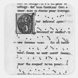 Canción de Ms.Fr 844 fol.138v de Blondel de Nesles Colcomanias Cuadradases