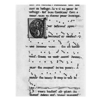 Canción de Ms.Fr 844 fol.138v de Blondel de Nesles Postal