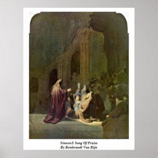 Canción de Simeon�S de la alabanza de Rembrandt Va Poster