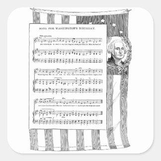 Canción del cumpleaños de Washington con la Pegatina Cuadrada