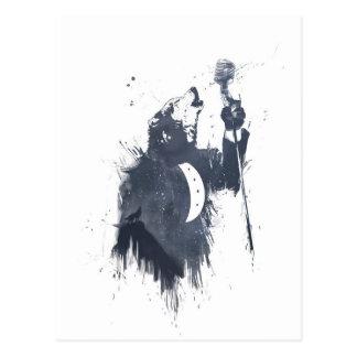 canción del lobo (azul) tarjeta postal