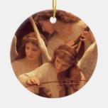 Canción del ornamento de los ángeles adorno redondo de cerámica