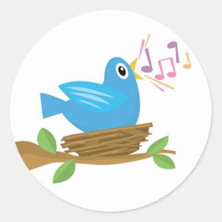 Canción del pájaro de la primavera pegatina redonda