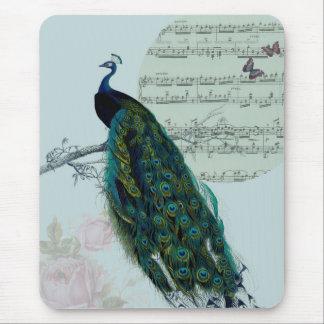 Canción del pavo real - vintage inspirado tapete de ratón