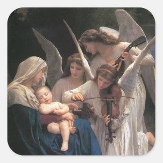 Canción del vintage de los ángeles calcomanías cuadradas