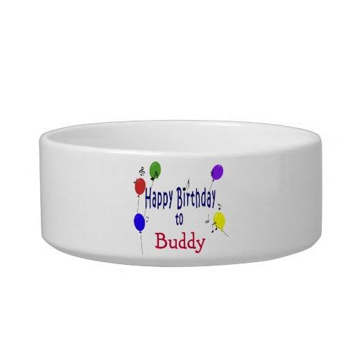 Canción personalizada del cumpleaños tazón para agua para gatos