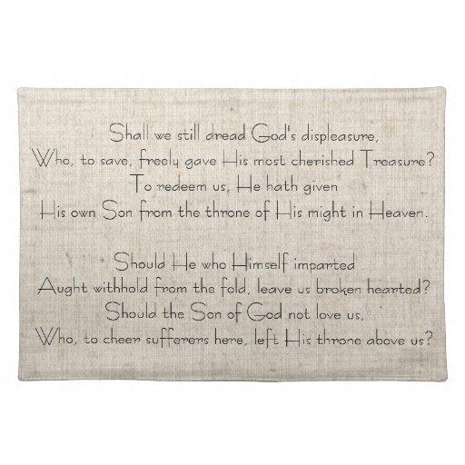 Canción Placemats del navidad del vintage Mantel Individual