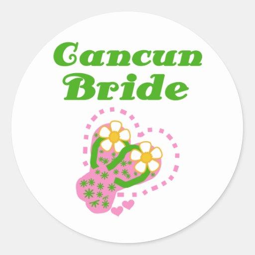 Cancun Bride Round Stickers