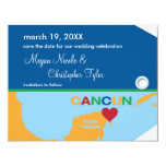 "Cancun Luggage Tag Save the Date Announcement 4.25"" X 5.5"" Invitation Card"
