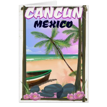 Beach Themed Cancun Mexico beach poster. Card