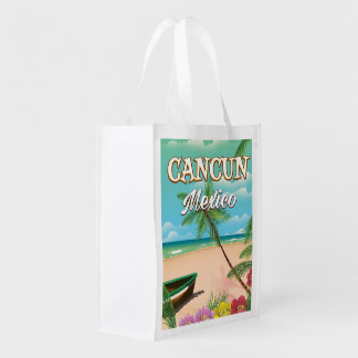 Cancun Mexico beach poster Grocery Bag