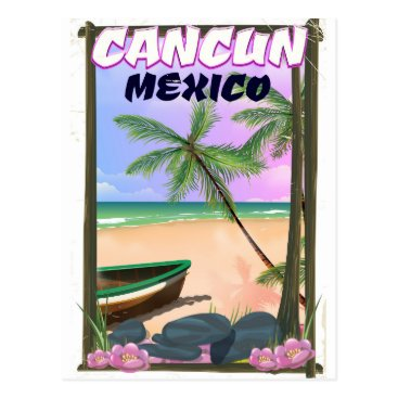 Beach Themed Cancun Mexico beach poster. Postcard