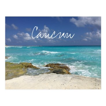 Beach Themed Cancun Mexico Beach Rocky Ocean Waves Postcard
