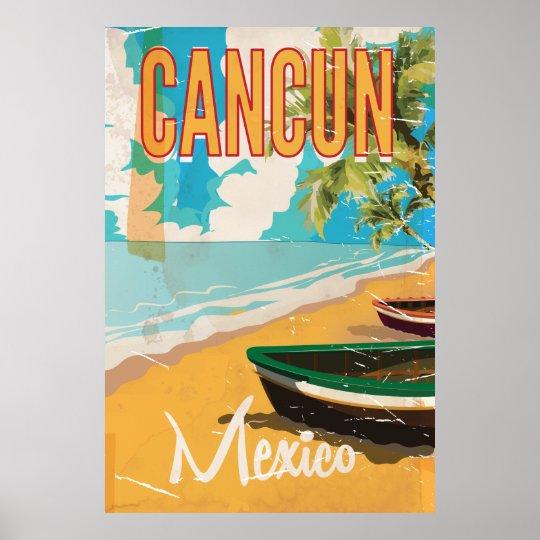 Cancun Mexico Beach Vintage Travel Poster Print Zazzle Com