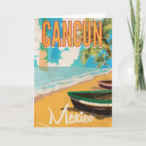 Cancun Mexico Beach Vintage travel poster print Card