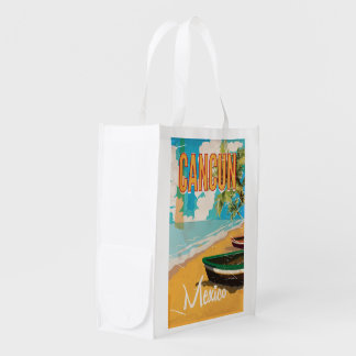 Cancun Mexico Beach Vintage travel poster print Reusable Grocery Bag