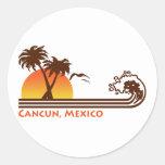 Cancun México Etiqueta Redonda