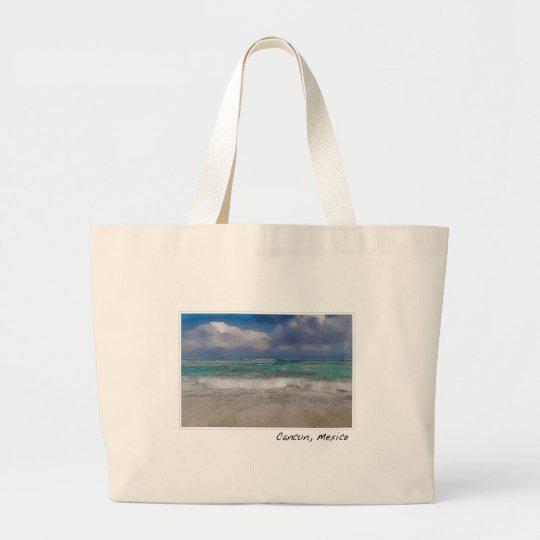 Cancun Mexico Ocean Beach Large Tote Bag