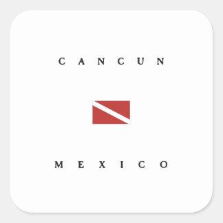Cancun Mexico Scuba Dive Flag Square Sticker